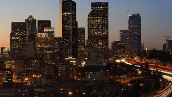 Cityscapes seattle buildings cities city night Wallpaper