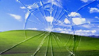 Clouds landscapes bliss windows xp broken screen wallpaper