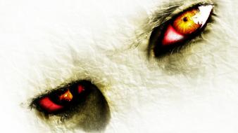 Eyes fire white background art design wallpaper