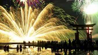 Fireworks people national geographic asian architecture reflections wallpaper