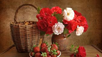 Flowers bowls strawberries baskets vases wallpaper