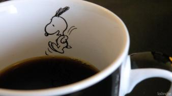 Glass coffee fruits food dogs snoopy jump wallpaper