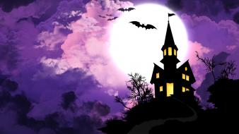 Halloween seasons spooky holidays mansion bats purple sky wallpaper