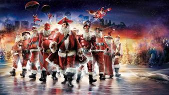 Heroes cartoonish christmas santa claus artwork outfits cities Wallpaper