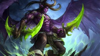 Horns fantasy art illidan stormrage artwork warcraft wallpaper