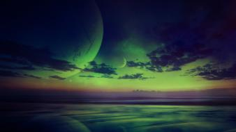 Landscapes eerie digital art emerald reflections photomanipulation Wallpaper