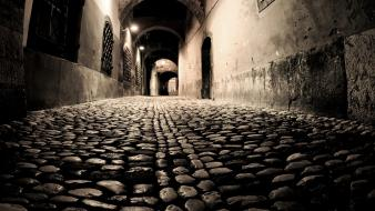 Lights artistic artwork cobblestones doors cobblestone road wallpaper