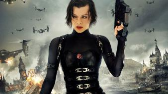 Milla jovovich leather suit resident evil retribution wallpaper