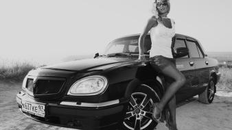 Monochrome gaz volga girls with cars russian wallpaper