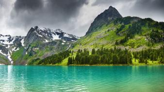 Mountains clouds landscapes nature lakes Wallpaper