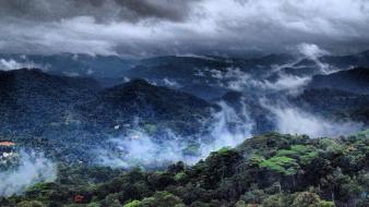 Mountains clouds landscapes trees forest india kerala Wallpaper