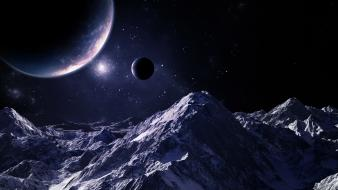 Mountains outer space stars planets fantasy art digital wallpaper