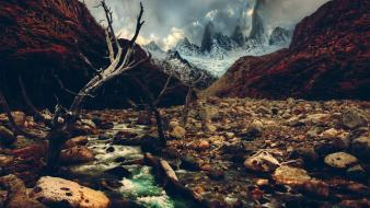 Nature rocks crossing rivers andes wallpaper