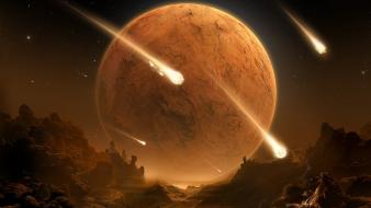 Outer space planets apocalyptic meteor shower wallpaper
