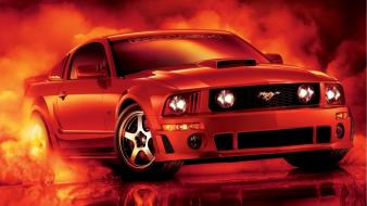 Red cars smoke ford mustang roush wallpaper
