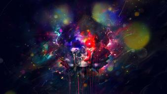 Skulls psychedelic digital art wallpaper
