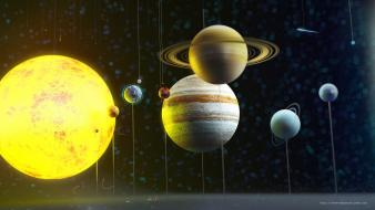 Solar system planets earth string aliens toys wallpaper