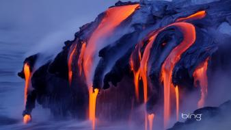 Steam landscapes nature lava streams eruption Wallpaper