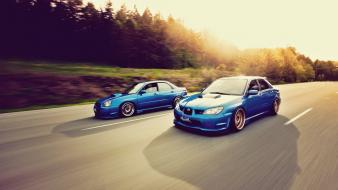 Sun cars subaru roads vehicles impreza wrx sti Wallpaper