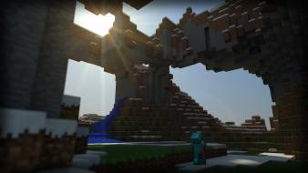 Video games mountains landscapes sun steve minecraft tapeta wallpaper