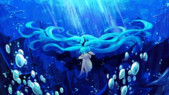 Vocaloid hatsune miku bubbles deep sea twintails wallpaper