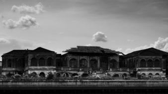Water architecture grayscale thailand mansion abandoned bangkok wallpaper
