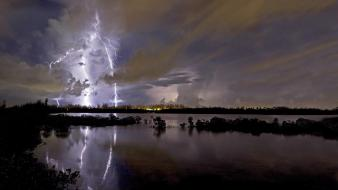 Water landscapes nature lightning Wallpaper