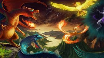 Zapdos lightning articuno charizard moltres legendary birds wallpaper