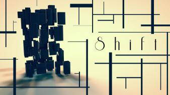 Abstract blocks typography lines shift cinema 4d wallpaper