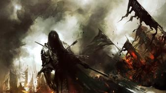 Battles artwork guild wars 2 spears arrows banners wallpaper