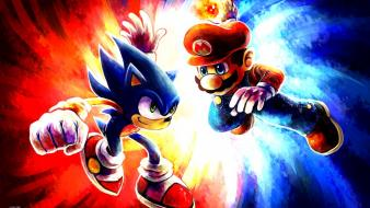Blue red white mario sonic wallpaper