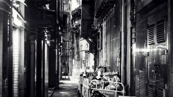 China buildings asia monochrome alley daniel büttner wallpaper