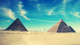 Desert egyptian pyramids blue skies wallpaper