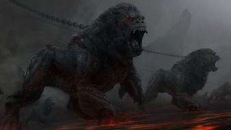 Fire fantasy art gorillas chains wallpaper