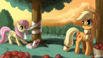 Fluttershy applejack my little pony: friendship is magic wallpaper