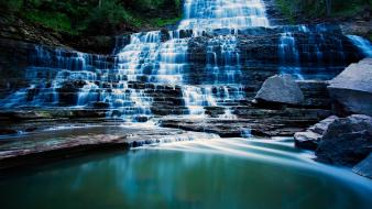 Forest canada long exposure hdr photography waterfalls Wallpaper
