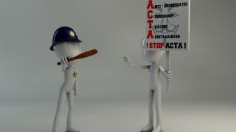 Funny people protest stick figures acta stop wallpaper