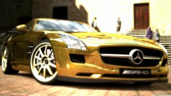 Gold sls amg mercedes benz wallpaper