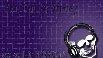 Headphones skulls music pirates wallpaper