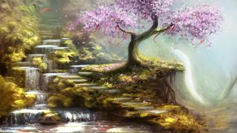 Mountains cherry blossoms trees rivers wallpaper
