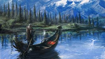 Mountains landscapes fantasy art boats warriors remko troost wallpaper