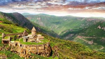 Mountains nature castles church armenia sightseeing wallpaper