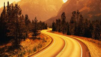 Mountains roads different wallpaper