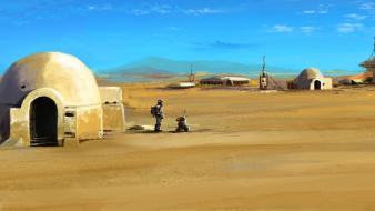 Movies futuristic desert science fiction artwork tatooine wallpaper