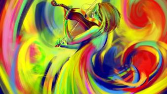 Multicolor violins digital art 3d wallpaper