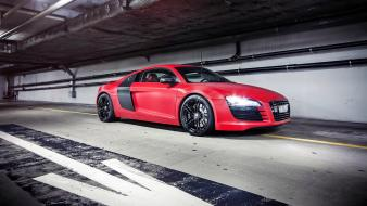 Red lights indoors cars audi vehicles r8 v8 wallpaper