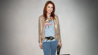 Redheads felicia day smiling grey background gingers wallpaper