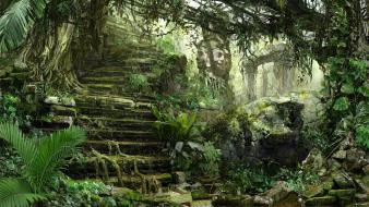 Rocks stairways sculpture digital art mayan liana wallpaper