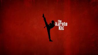 Silhouette movie posters the karate kid red background wallpaper