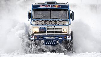 Snow trucks Wallpaper